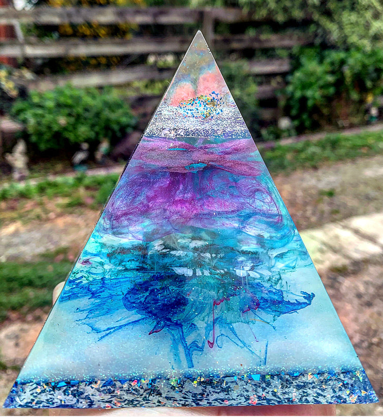 Boysenberry and blue resin pyramid