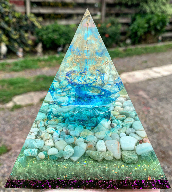 Amazonite and howlite crystal pyramid