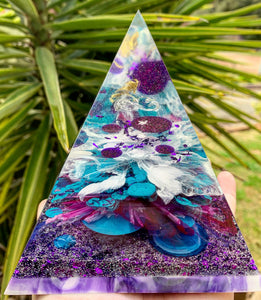 Purple, blue, pink resin pyramid