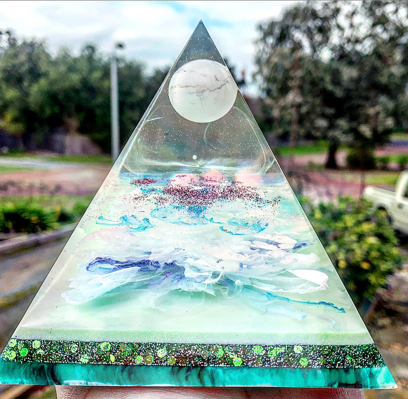 Mint green and white marbled crystal sphere resin pyramid