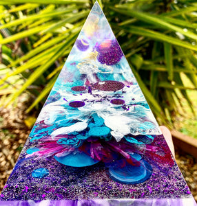 Resin pyramid medium violet and teal