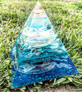 Blue resin pyramid