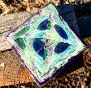 Large crystal infused resin pyramid