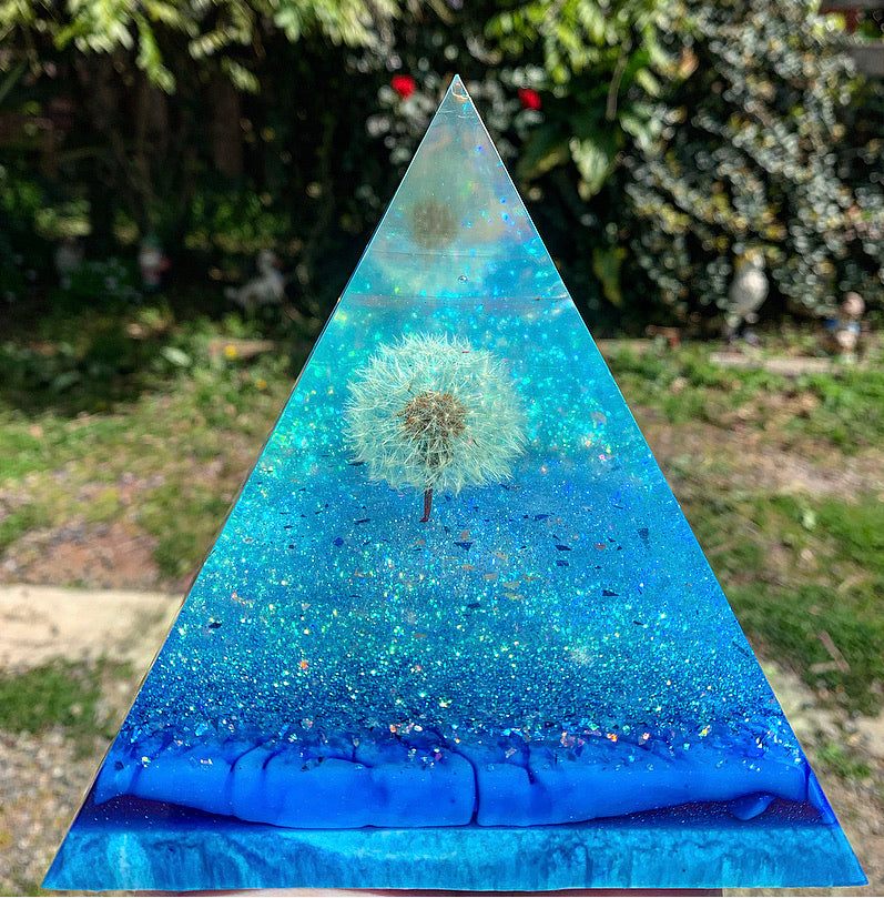 Dandelion wishes resin pyramid