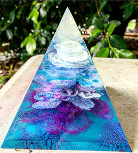 Teal and violet resin pyramid