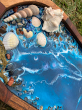Ocean vibes resin and acacia wood serving tray