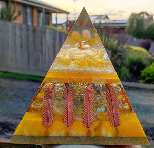 Citrine infused resin pyramid