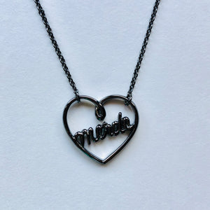 Heart Necklace Black Rhodium