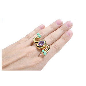 Caduceus Ring Amethyst Gold