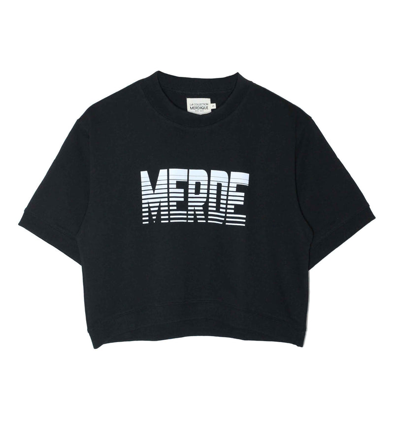 Cropped Sweatshirt Lines Black