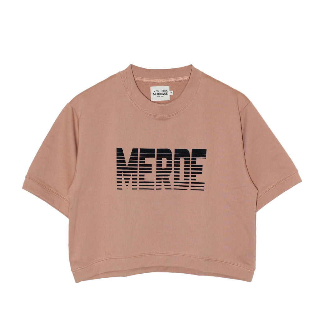 Cropped Sweatshirt Lines Salmon