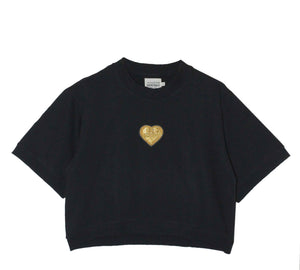 Cropped Sweatshirt Gold Heart Black