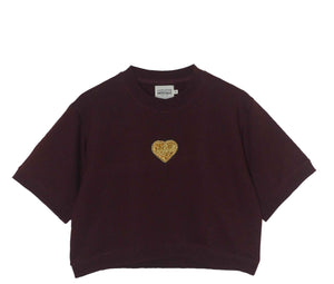Cropped Sweatshirt Gold Heart Bordeaux