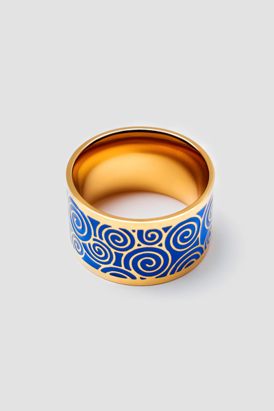 Deep Indigo Enamel Ring - Polished Design