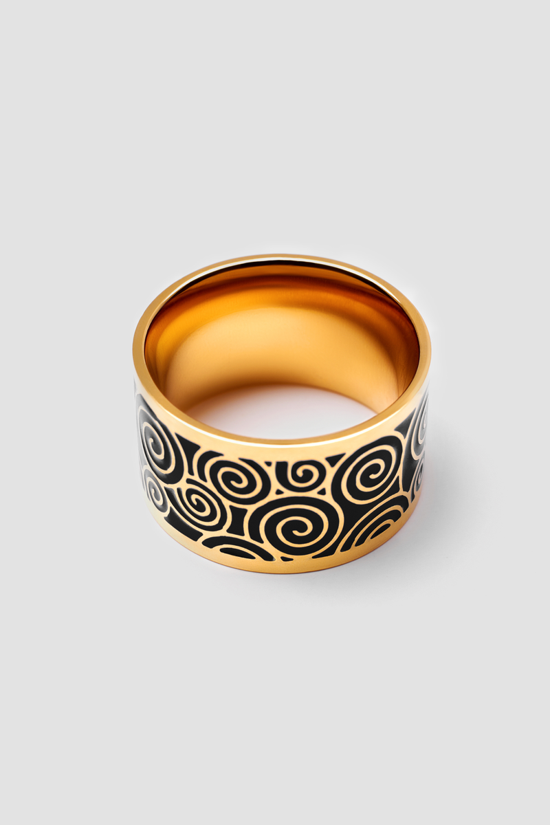 Back Mist Enamel Ring - Polished Design