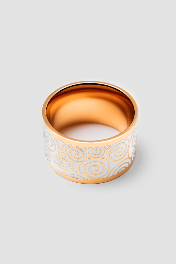White Torrent Enamel Ring - Polished Design