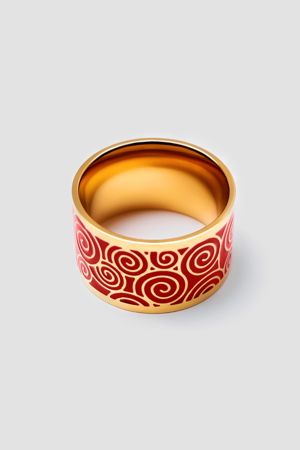Crimson Tide Enamel Ring - Polished Design