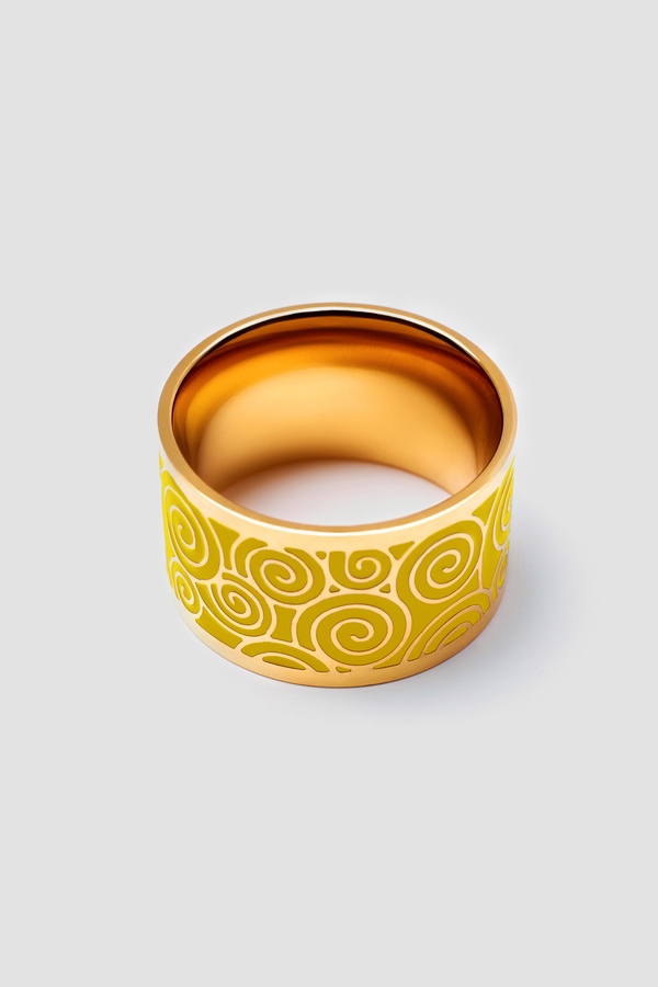 Gold Stream Enamel Ring - Polished Design