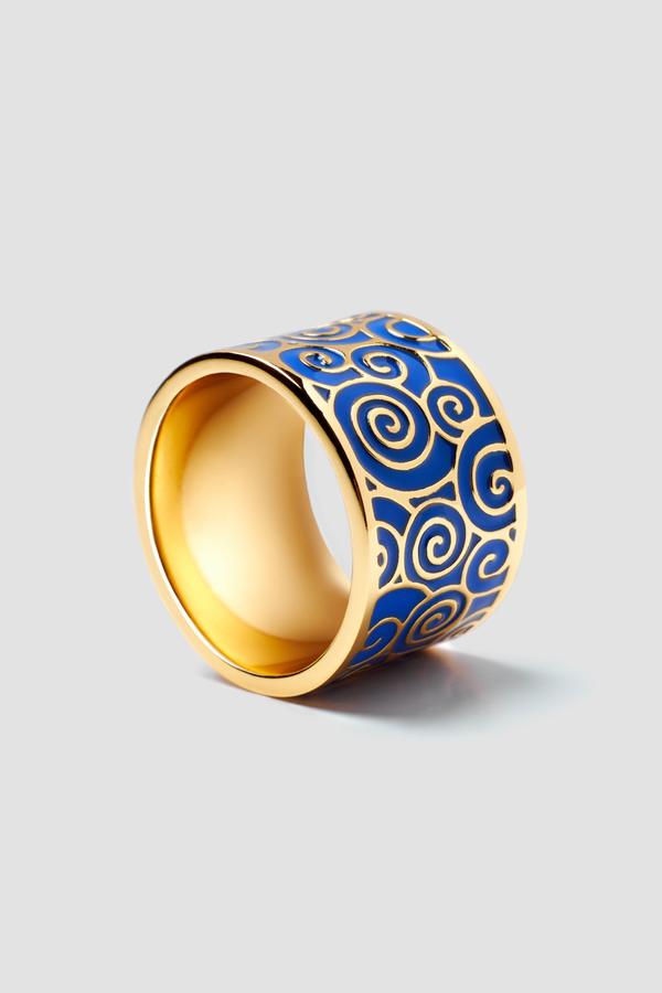 Deep Indigo Enamel Ring - Textured Design