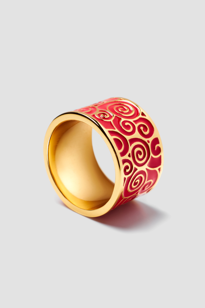 Crimson Tide Enamel Ring - Textured Design