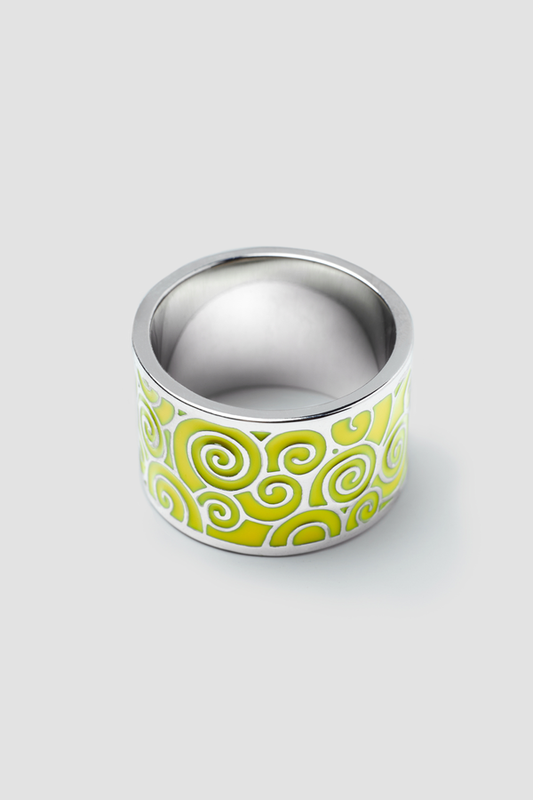 Gold Stream Enamel Ring - Textured Design