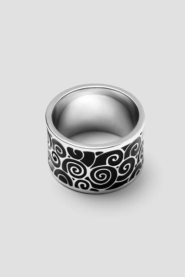 Back Mist Enamel Ring - Textured Design