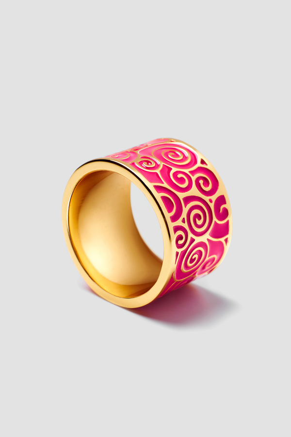 Pink Rush Enamel Ring - Textured Design