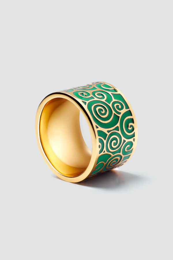 Jade Splash Enamel Ring - Textured Design