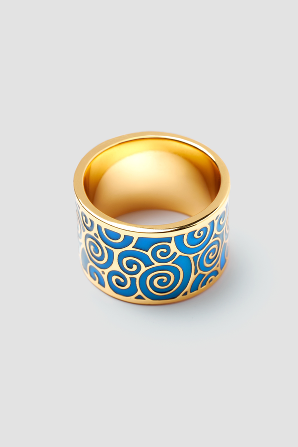 Deep Azure Enamel Ring - Textured Design