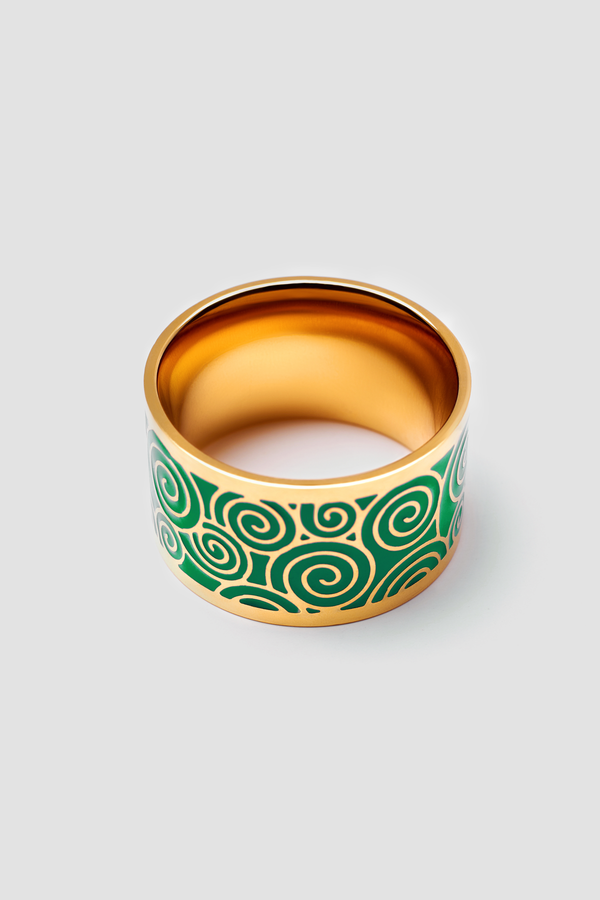 Jade Splash Enamel Ring - Polished Design
