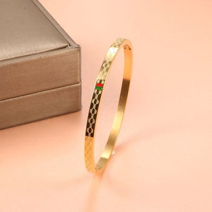 Charm Cuff Bracelets Bangle for Women Stainless Steel Gold Plating 4mm 6mm 8mm Width Luxury Wristband Wedding Female Jewelry