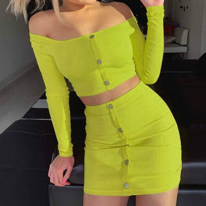 Women's Sets Fashion Buttons Long Sleeve Crop Top Mini Skirt Sexy Club Neon Green Overalls Two Pieces Sets Outfits Party PR339G