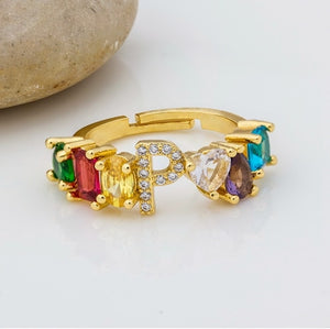 Personalized Adjustable A-Z Initial Ring Bohemian Copper Zircon  Rainbow Letter Rings for Women Girls Party Wedding Jewelry Gift