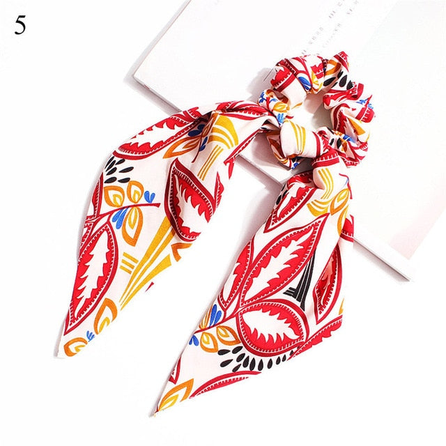 Elegant Floral Leopard Streamers Bow Hair Ties For Girls Women Hair Scarf Scrunchies Elastic Hair Ribbon Bands Hair Accessories - MeriMeriShop