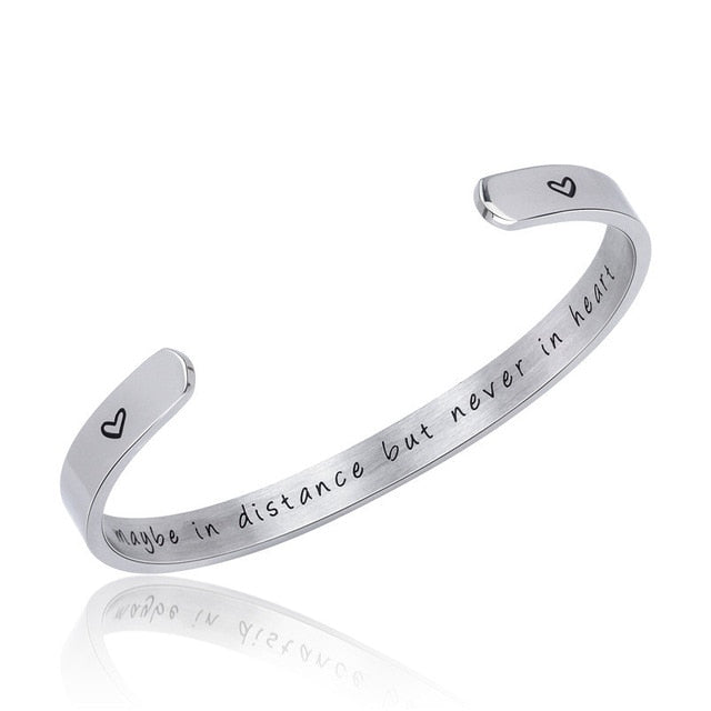 Best Friends Bracelet Cuff Bangle Friendship BFF Bracelet Not Sisters By Blood But Sisters By Heart Jewelry for Women Girls