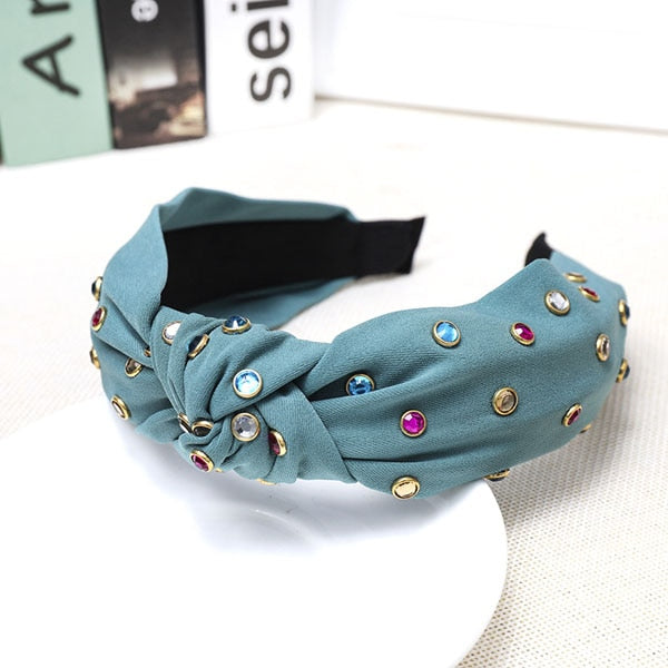 Bohemian Satin Knotted Hairband Colored Rhinestone Knot Headband Hair Accessories Hair Jewelry