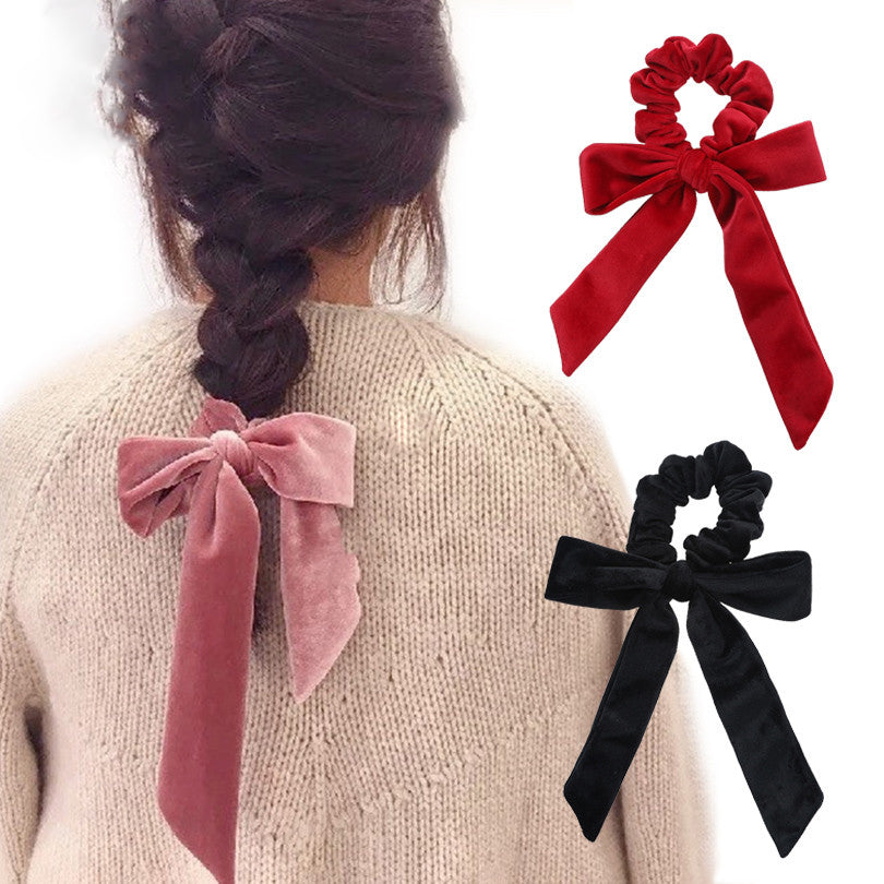 Haimeikang Cute Girl Hair Rope Velvet Scrunchies Bowknot Elastic Hair Bands for Women Bow Ties Ponytail Holder Accessories