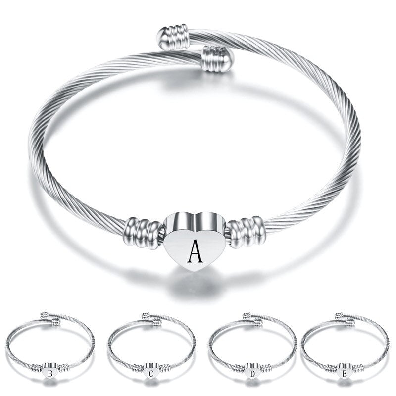 Silver Color Stainless Steel Heart Bracelet Bangle With Letter Fashion Initial Alphabet Charms Bracelets For Women - MeriMeriShop