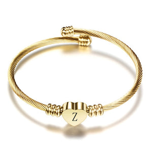 Adjustable Gold Color Stainless Steel Heart Bracelet Bangle With Letter Fashion Initial Alphabet Charms Bracelets For Women