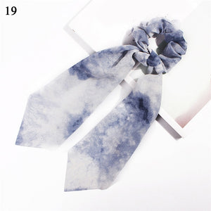 Elegant Floral Leopard Streamers Bow Hair Ties For Girls Women Hair Scarf Scrunchies Elastic Hair Ribbon Bands Hair Accessories