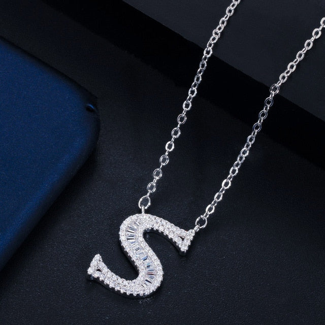 CWWZircons Personalized Cubic Zirconia Crystal 26 Initial Name Letter Pendant Necklace for Women DIY Custom Jewelry Gift  CP046