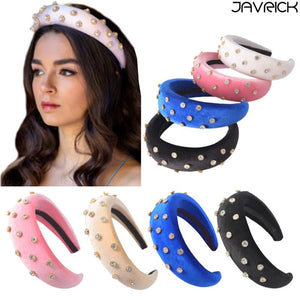 Women Retro Velvet Padded Wide Headband Glitter Rhinestone Sunflower Embellished Thick Sponge Hair Hoop Gothic Wedding Headpiece