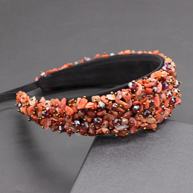 Luxury crystal hand-sewn granules catwalk temperament heavy duty headband Baroque fashion temperament full headband  856