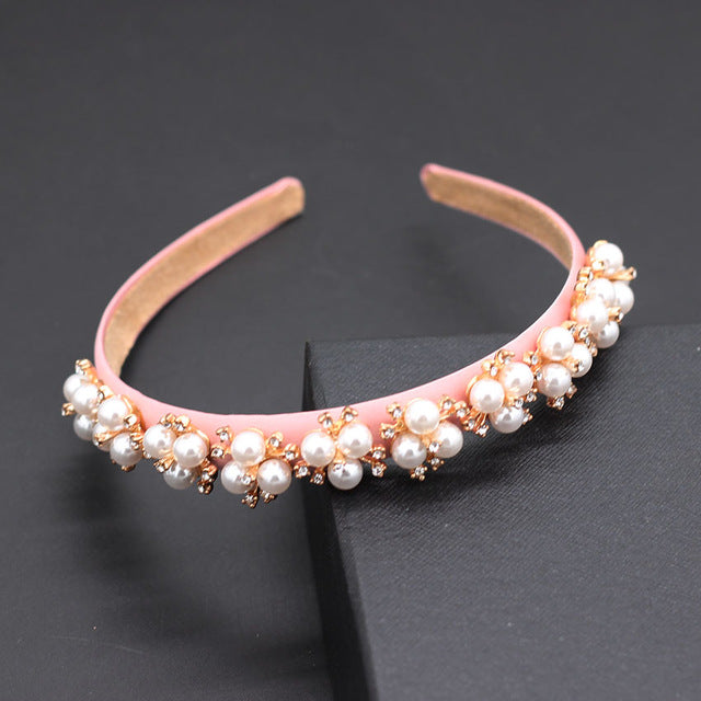 White pearl rhinestone baroque headband New fashion simple white snowflake pearl wild headband  859