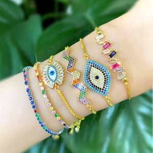 New Design Evil Eye Rhinestone Statement Copper Bracelet Bangles Geometric Rainbow CZ Crystal Hand Jewelry Wedding Bracelet
