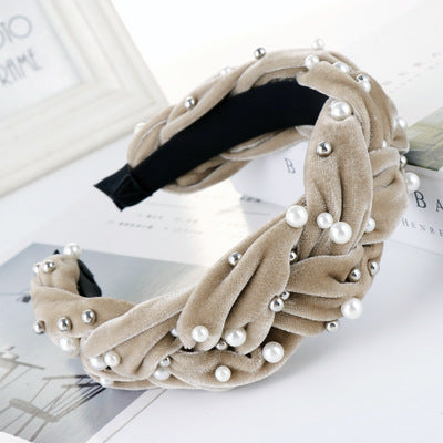 Trendy Wide Pearl Velvet Braided Headband for Women Rhinestone Knot Hairband Turban Handmade Padded Crown Headband Accessories