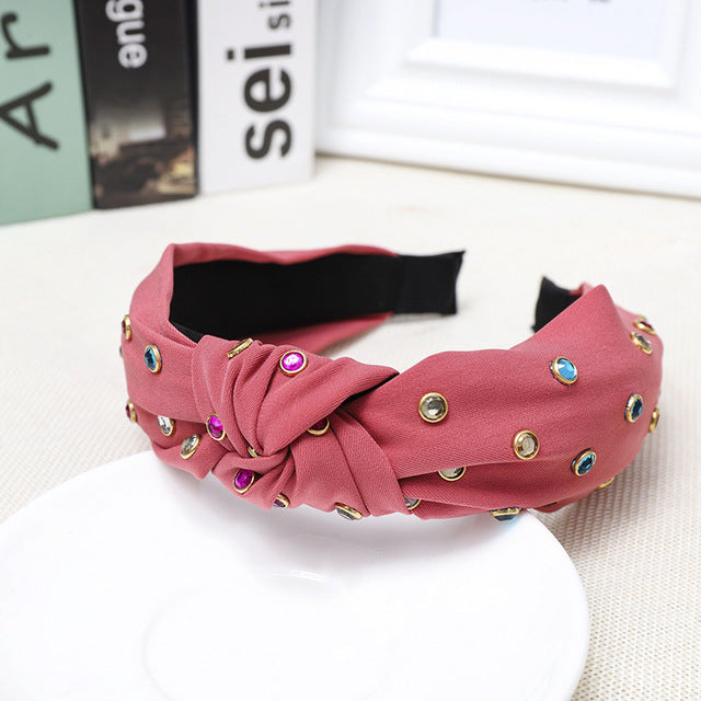 Haimeikang Sweet Top Knot Crystal Hairbands Rhinestone Headbands Fabric Solid Colors Hairband Hair Band Accessories For Women - MeriMeriShop