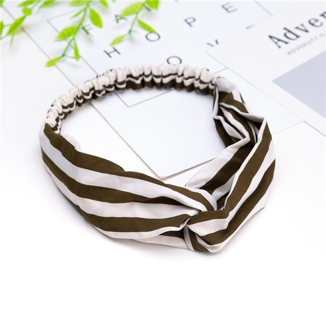 Women  Headband Vintage Cross Knot Elastic Hair Bands Soft Solid Girls Hairband Hair Accessories