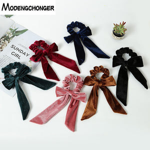Free Shipping For Women Hair Ties Velvet Scrunchie Elastic Hair Band Bow Hair Rope Girls Sweet Head Band Soft Hair Accessories - MeriMeriShop