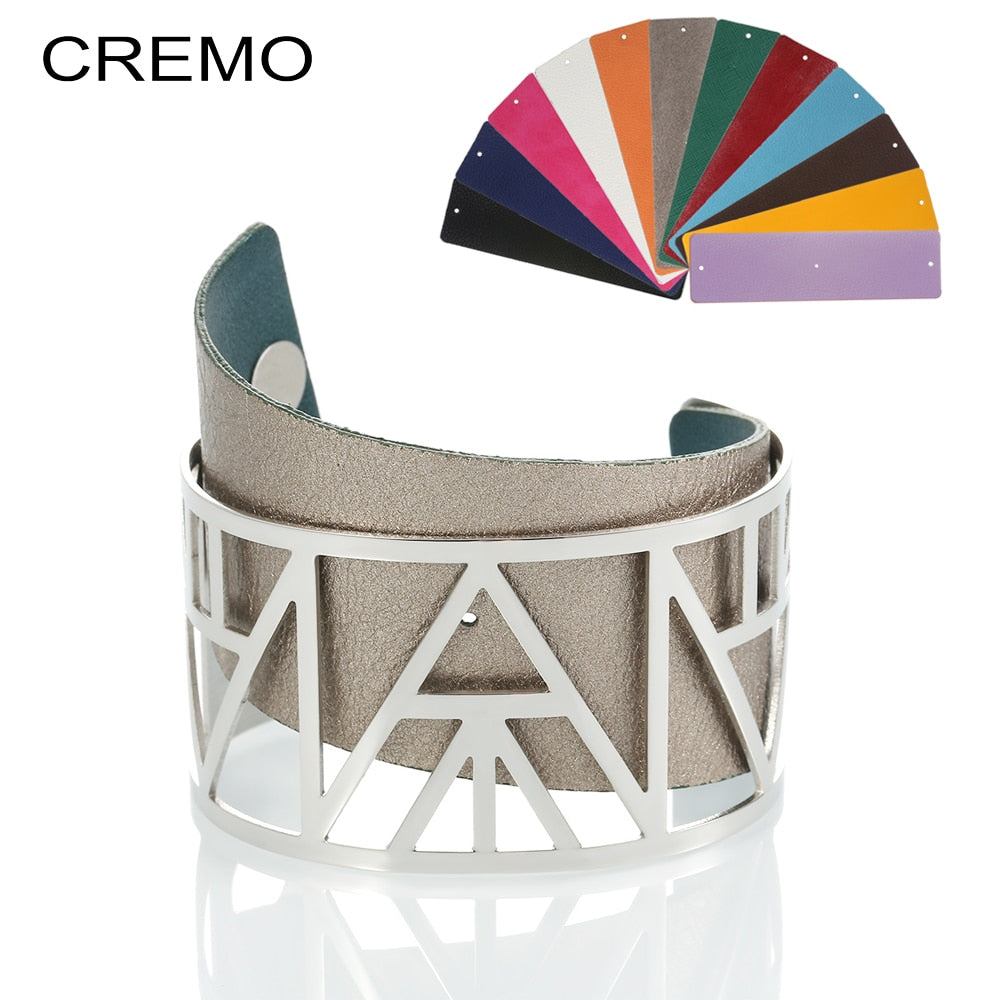 Cremo Leather Cuff Bangles & Bracelets Statement Femme Wide Bijoux Silver Bangles Interchangeable Reversible Pulseiras Bracelet